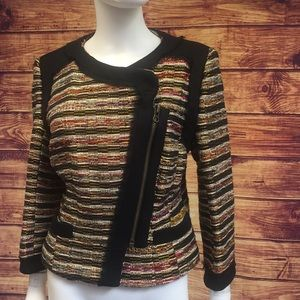 Badgley Mischka Gold Multi Tweed Black Trim Blazer